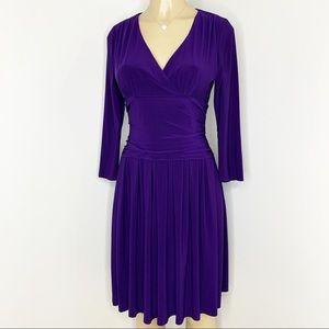 ELIZA J Purple Faux Wrap Knit Dress Size 4